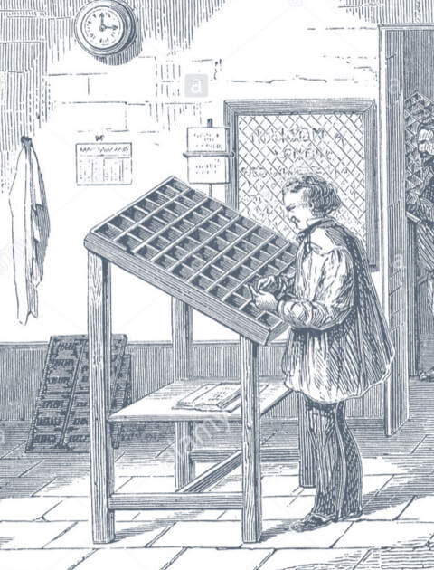 Typesetter selecting type for a galley