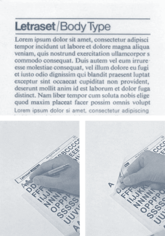 Letraset Transfer Sheets with Lorem Ipsum